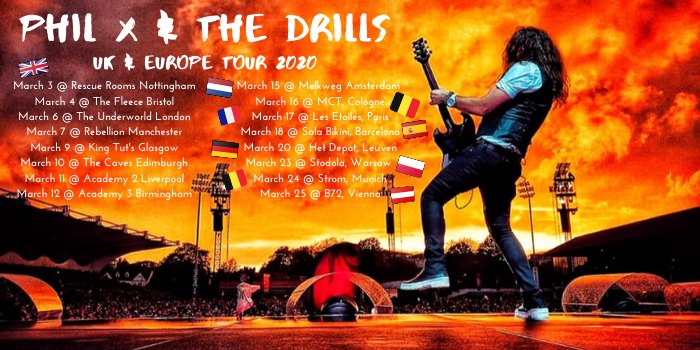 Phil X & The Drill tour dates Europe 2020.