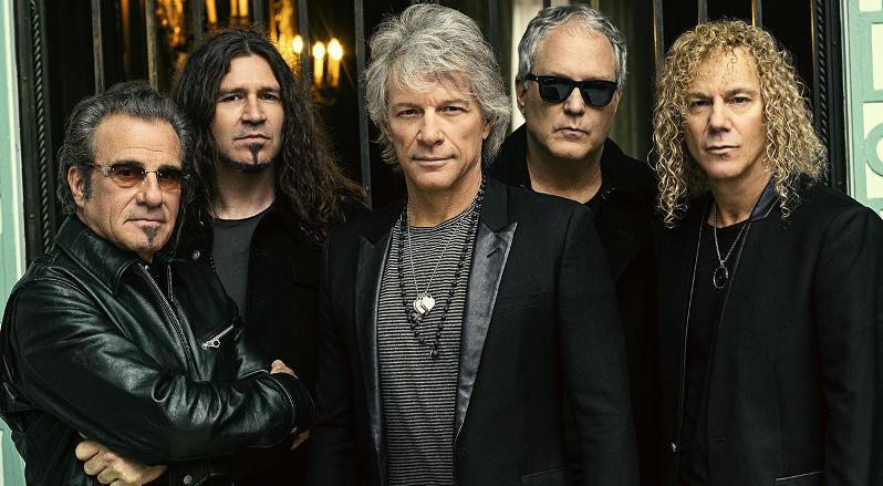 A group photo of Bon Jovi taken in 2020.