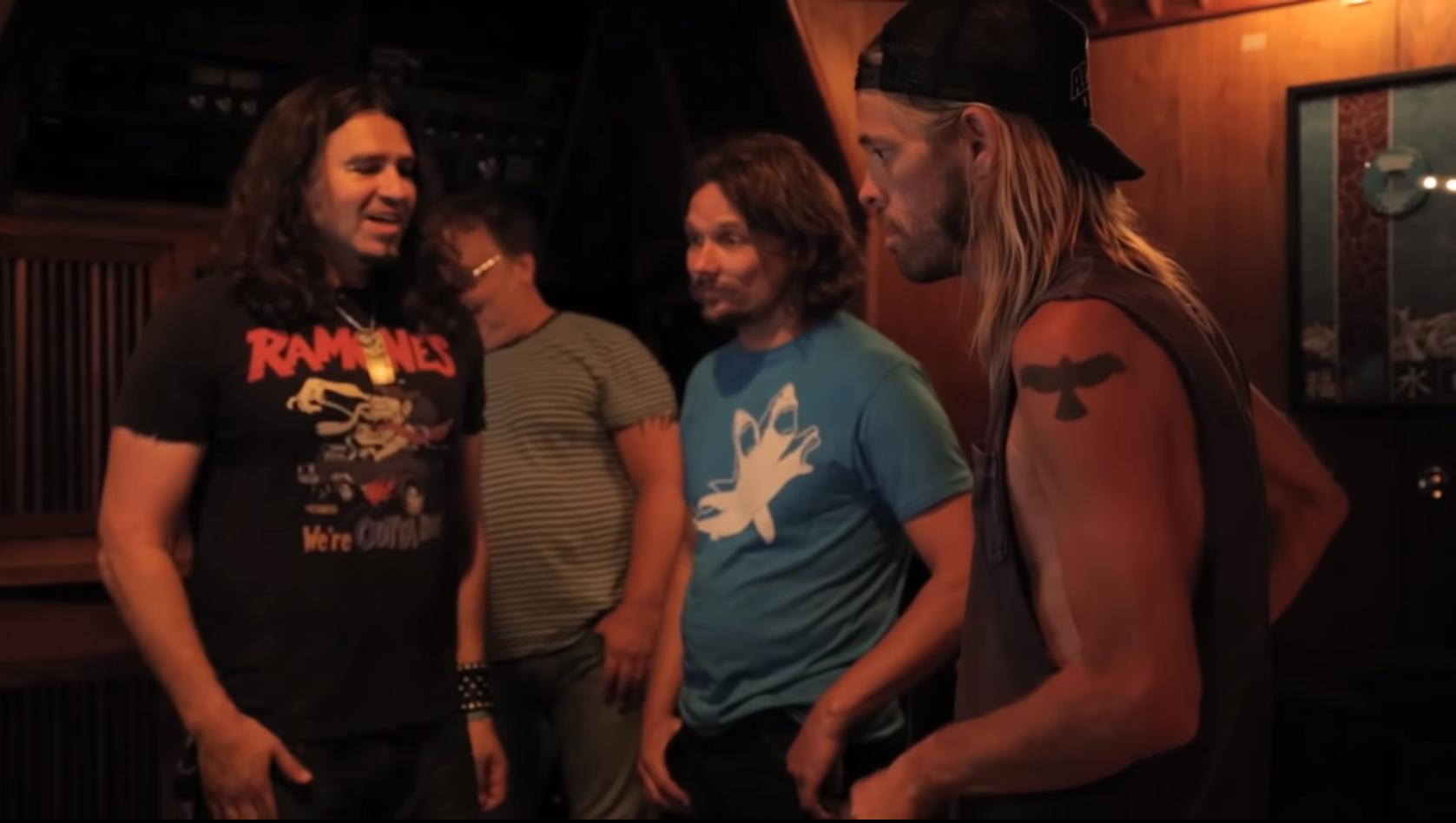 Phil X and The Drills recording Too Much for My Own Good with Foo Fighter's aylor Hawkins.