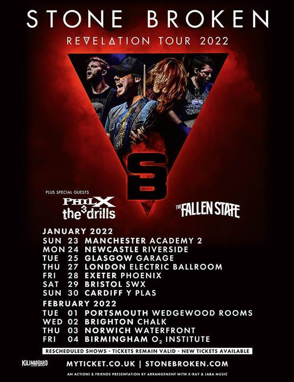Picture with tour dates of Phil X and Stonebroken in Uk 2022.