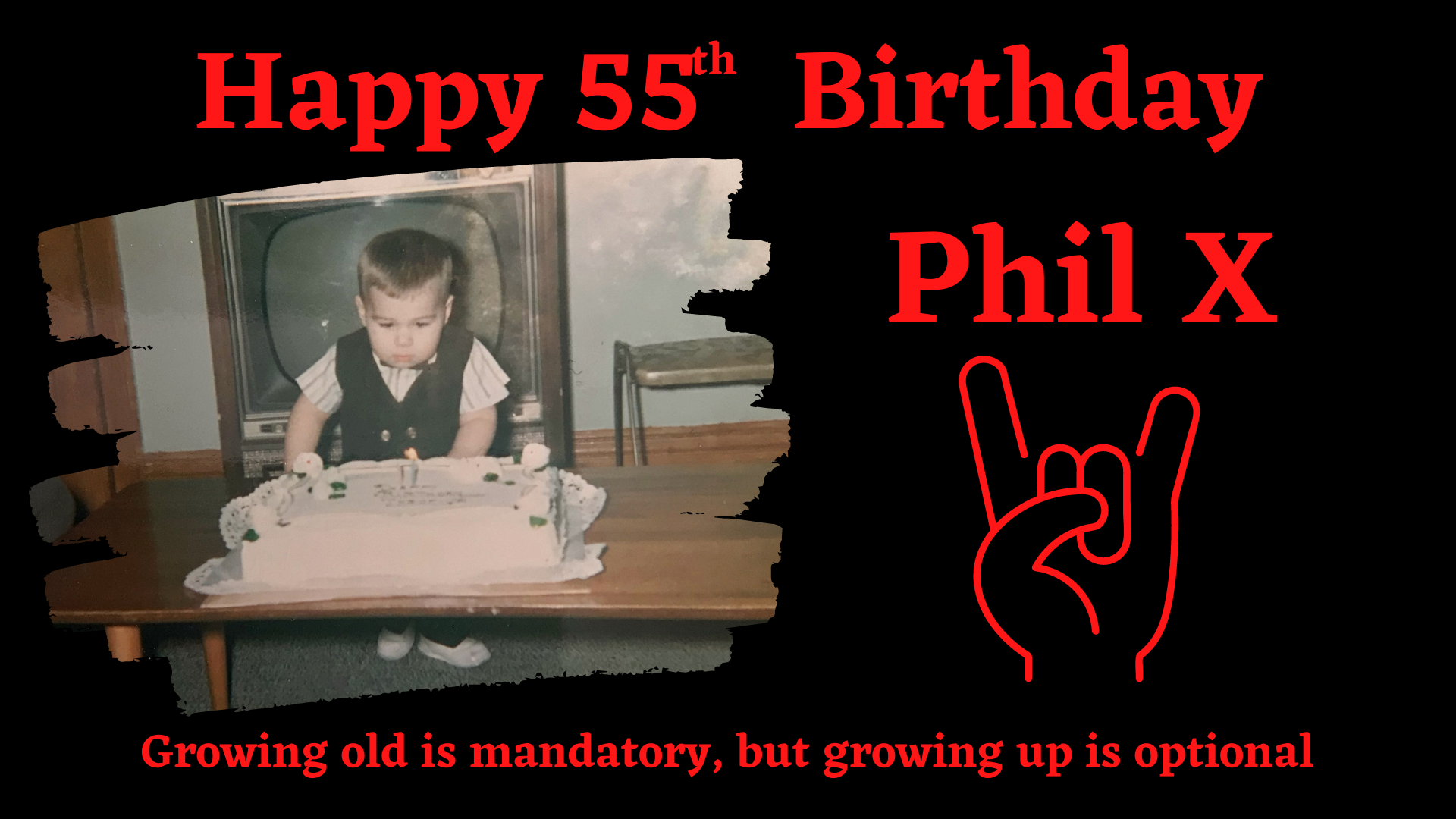 picture of a young Phil X blowing candels.