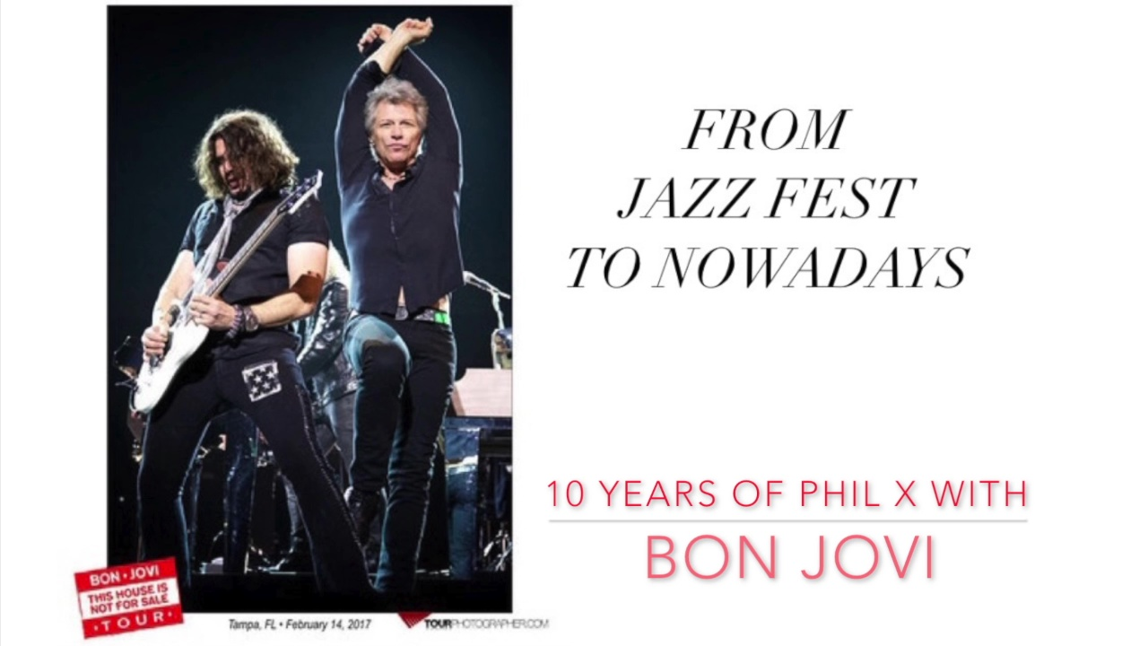 image of Phil X with Jon Bon Jovi for his 10th anniversary with the band.